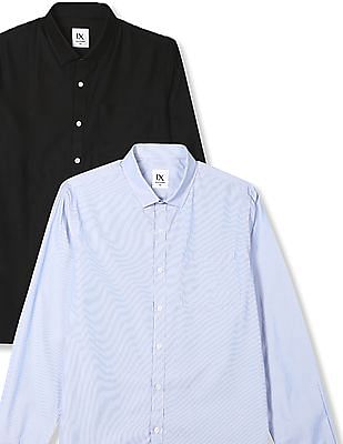 Excalibur Mitered Cuff Semi Cutaway Collar Shirt - Pack Of 2