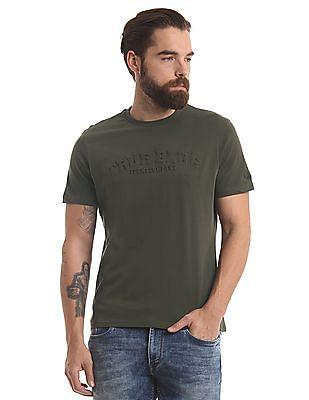 True Blue Crew Neck Embossed T-Shirt