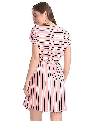 Elle Studio Striped Fit And Flare Dress