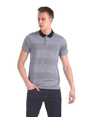 Arrow Sports Patterned Stripe Short Sleeve Polo Shirt