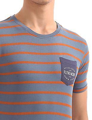 Flying Machine Patch Pocket Striped T-Shirt