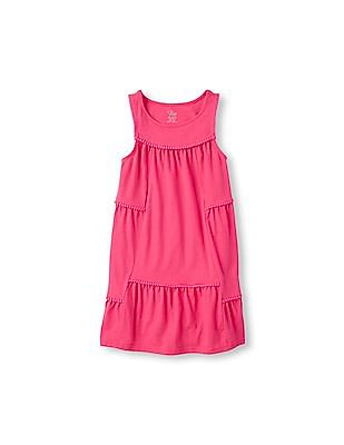 The Children's Place Girls Sleeveless Pom Pom Dress