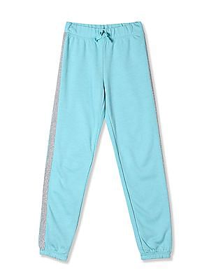 The Children's Place Green Girls Active Glitter Side Stripe Fleece Pants