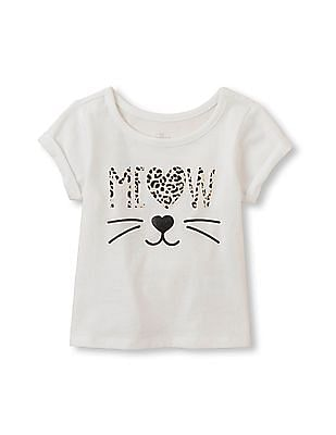 The Children's Place Toddler Girl Short Sleeve Embellished Graphic Wide-Neck Top