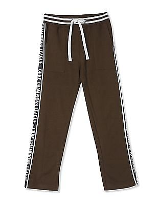 Cherokee Brown Boys Printed Tape Knit Track Pants