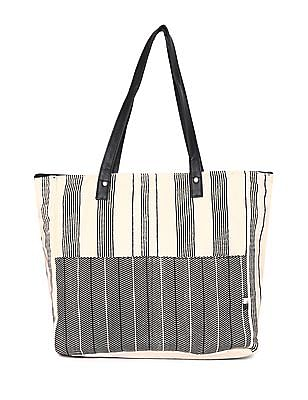 Bronz White Striped Cotton Tote Bag