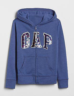 GAP Girls Flippy Sequin Logo Hoodie Sweatshirt