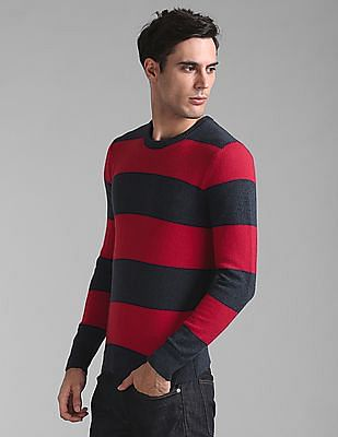 GAP Men Red Cozy Classic Rugby Stripe Sweater