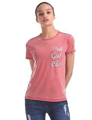 Flying Machine Women Round Neck Burnout T-Shirt
