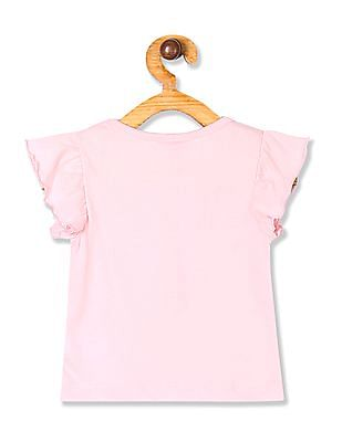 Donuts Pink Girls Flutter Sleeve Graphic Top