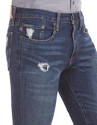 GAP Men Blue Destructed Skinny Fit Jeans (Stretch)