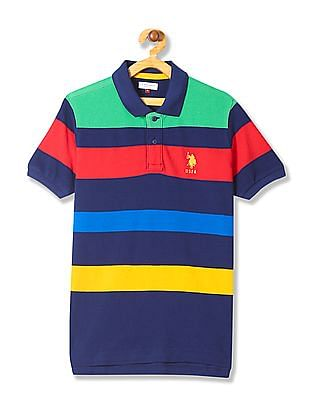 U.S. Polo Assn. Kids Boys Stripe Pique Polo Shirt