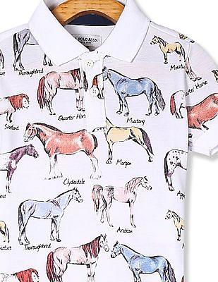 U.S. Polo Assn. Kids White Boys Animal Print Pique Polo Shirt