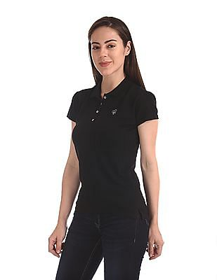 Flying Machine Women Short Sleeve Pique Polo Shirt