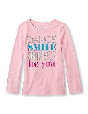 The Children's Place Girls Pink Long Sleeve Glitter Graphic T-Shirt