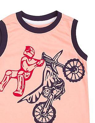 Cherokee Boys Contrast Trim Printed Muscle T-Shirt