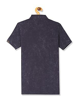 U.S. Polo Assn. Kids Grey Boys Horse Print Pique Polo Shirt