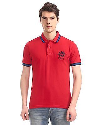 U.S. Polo Assn. Red Contrast Tipping Pique Polo Shirt