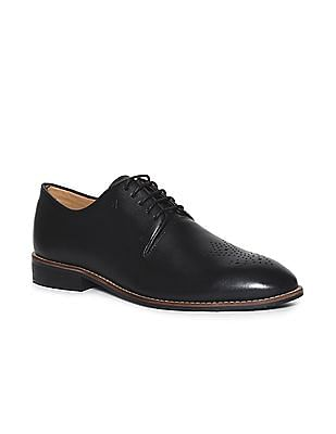 Arrow Black Perforated Leather Derby Shoes