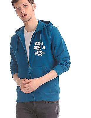 U.S. Polo Assn. Blue Hooded Zip Up Sweatshirt