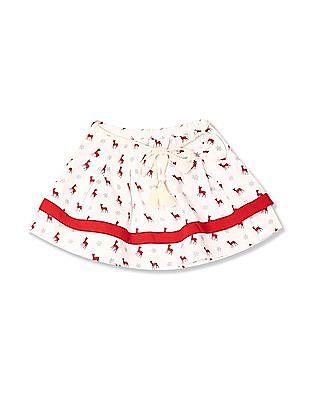 Donuts Girls Printed Layered Skirt