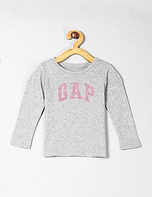 GAP Grey Toddler Girl Logo Long Sleeve T-Shirt