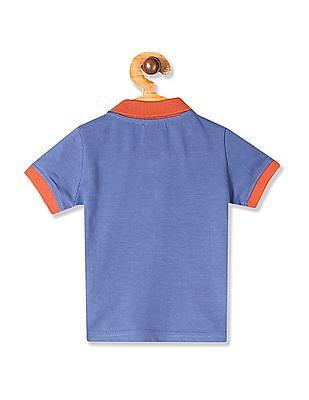 Donuts Blue Boys Appliqued Pique Polo Shirt
