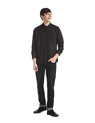 Ruggers Brown Barrel Cuff Solid Shirt