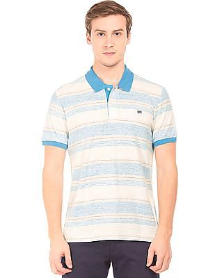 Arrow Sports Striped Cotton Linen Polo Shirt