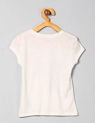 GAP Girls White Short Sleeve Printed Tee