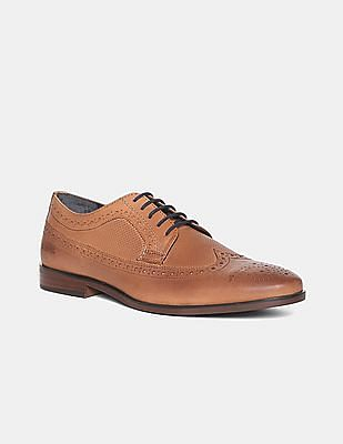 U.S. Polo Assn. Brown Wingtip Leather Derby Shoes