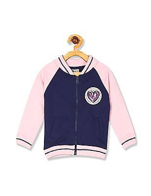 Cherokee Girls Colour Block Zip Up Sweatshirt