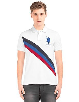 U.S. Polo Assn. Striped Front Slim Fit Polo Shirt