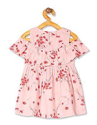 Donuts Girls Floral Print Ruffled Dress