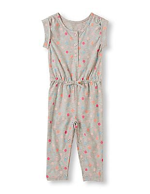 The Children's Place Toddler Girl Grey Melange Polka-Print Jumpsuit