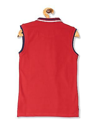 U.S. Polo Assn. Kids Girls Printed Sleeveless Polo Shirt