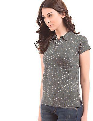 Flying Machine Women Geometric Print Regular Fit Polo Shirt
