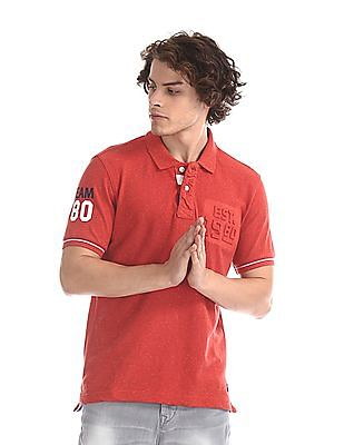 Flying Machine Red Nep Cotton Pique Polo Shirt