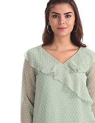 Elle Studio Green Textured Ruffle Top