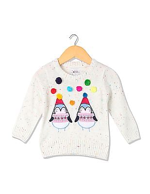 Donuts Girls Pom Pom Embroidered Sweater