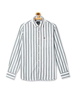Arrow Sports Green Semi Cutaway Collar Vertical Stripe Shirt