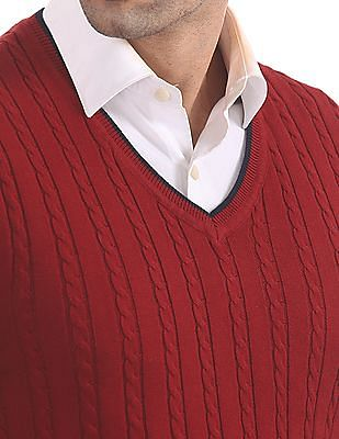 Arrow Sports V-Neck Long Sleeves Sweater