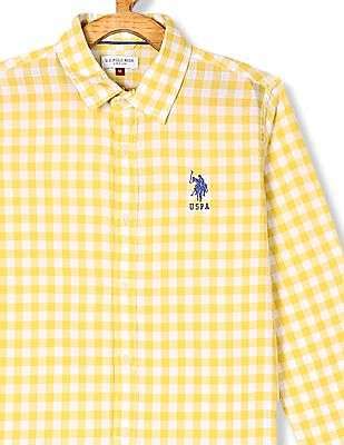 U.S. Polo Assn. Kids Yellow Boys Spread Collar Check Shirt