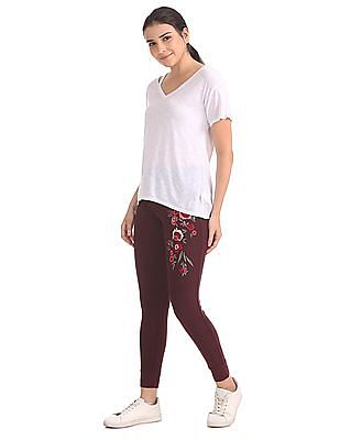 Aeropostale Floral Embroidered Drawstring Waist Lounge Pants