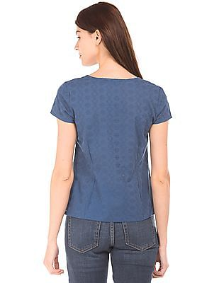 Bronz Embroidered Mock Placket Top