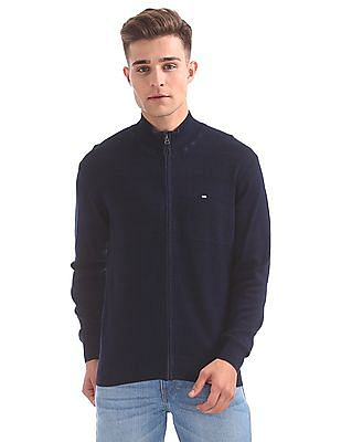 Arrow Sports High Neck Zip Up Sweater
