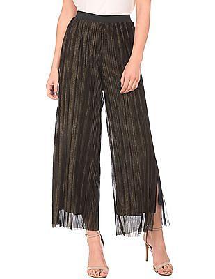 Elle Studio Accordion Pleated Split Hem Pants