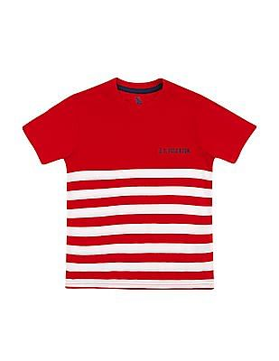 U.S. Polo Assn. Kids Boys Striped Crew Neck T-Shirt
