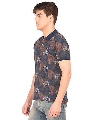 Flying Machine Printed Cotton Pique Polo Shirt