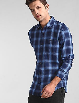 GAP Blue Check Slub Twill Shirt